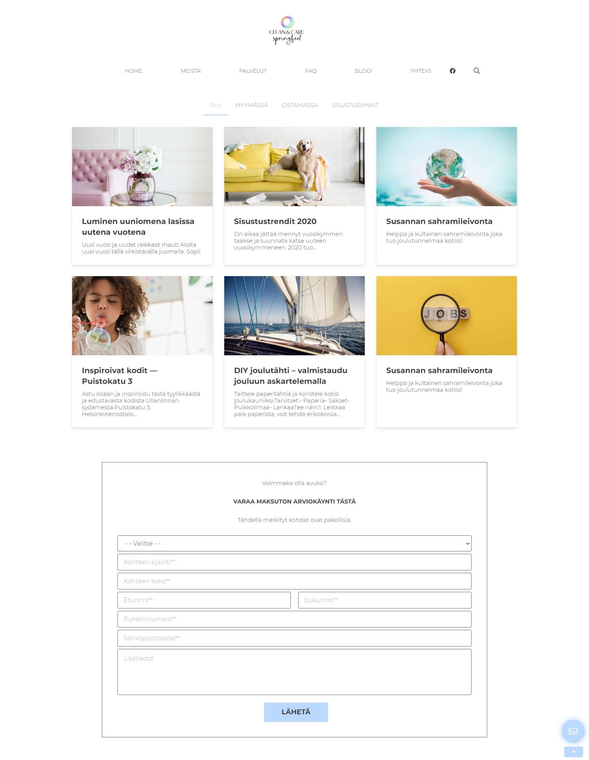 Сайт клининговой компании в Финляндии